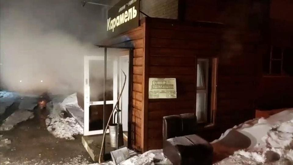 A heating pipe burst Monday in a small Russian hotel.