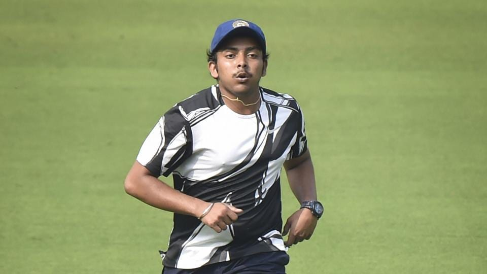 Indian cricketer Prithvi Shaw during a practice session.