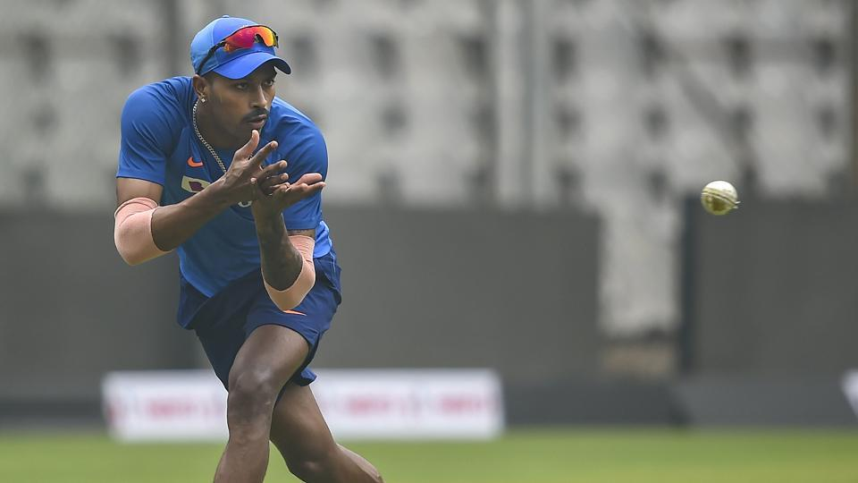 Indian player Hardik Pandya during a training session.