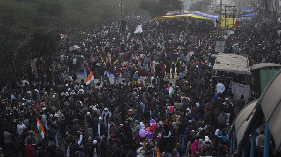 People gathered in numbers to protest against the Citizenship Amendment Act (CAA) at Shaheen Bagh, in New Delhi, on Sunday, January 19, 2020.