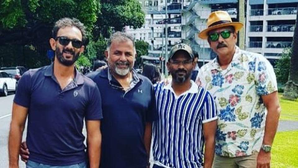 Ravi Shastri (R) was accompanied by batting coach Vikram Rathour (L), bowling coach Bharat Arun (2L) and fielding coach R Sridhar.