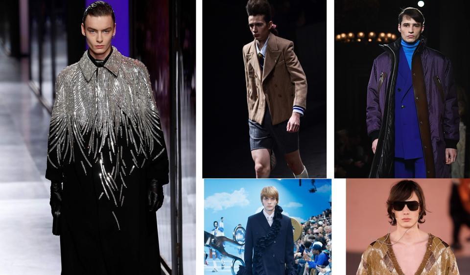 (Clockwise) Fall Winter 2021 looks from Dior Men, Gucci, Berluti, Balmain and Louis Vuitton