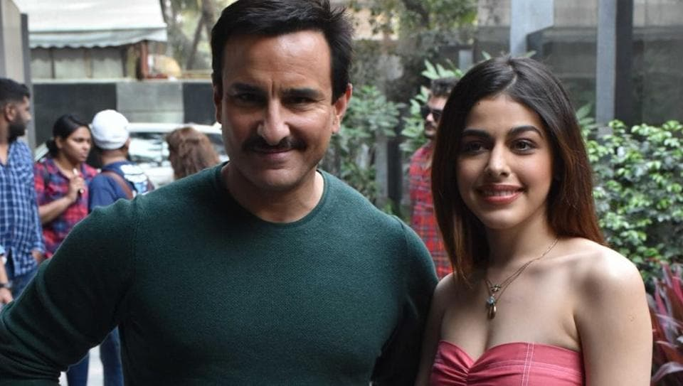 Saif Ali Khan and Alaya Furniturewala during the promotions of their upcoming film Jawaani Jaaneman.