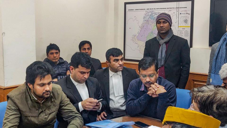 Delhi Chief Minister Arvind Kejriwal waits to file his nomination for Delhi Assembly polls.