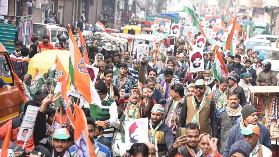 Former Delhi Congress president Arvinder Singh Lovely seen during a roadshow ahead of Assembly election, at Gandhi Nagar, in New Delhi.