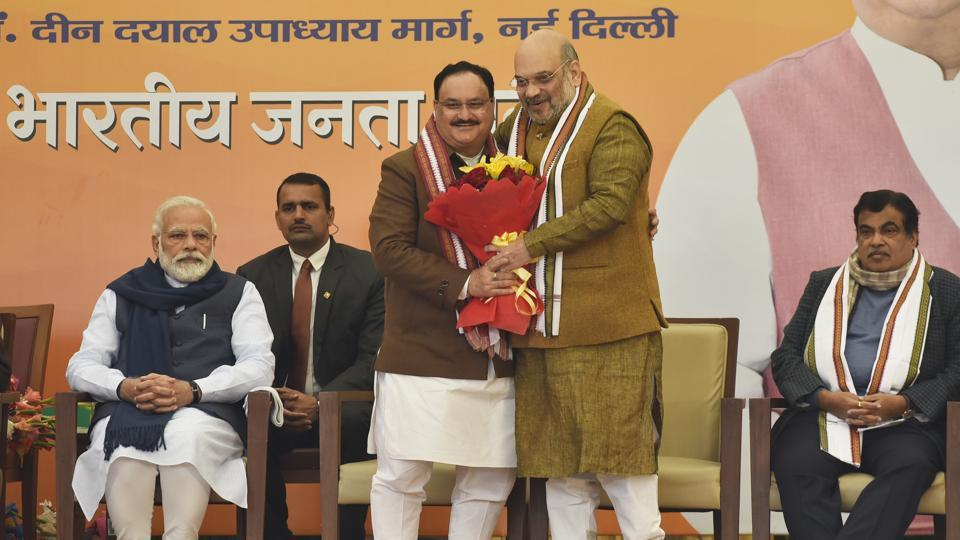 Jagat Prakash Nadda on Monday was elected unopposed as the 11th national president of the Bharatiya Janata Party. A former ABVP functionary and an ex union minister, Nadda took over from Amit Shah, who served as party president from 2014 and is also the union Minister for home affairs. (Sanjeev Verma / HT Photo)