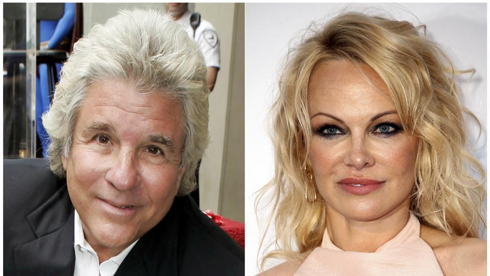 This combination photo shows Hollywood producer Jon Peters and actor Pamela Anderson.