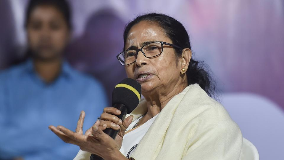 West Bengal Chief Minister Mamata Banerjee speaks during her party's protest dharna against CAA, NPR and NRC in Kolkata, on January 16.
