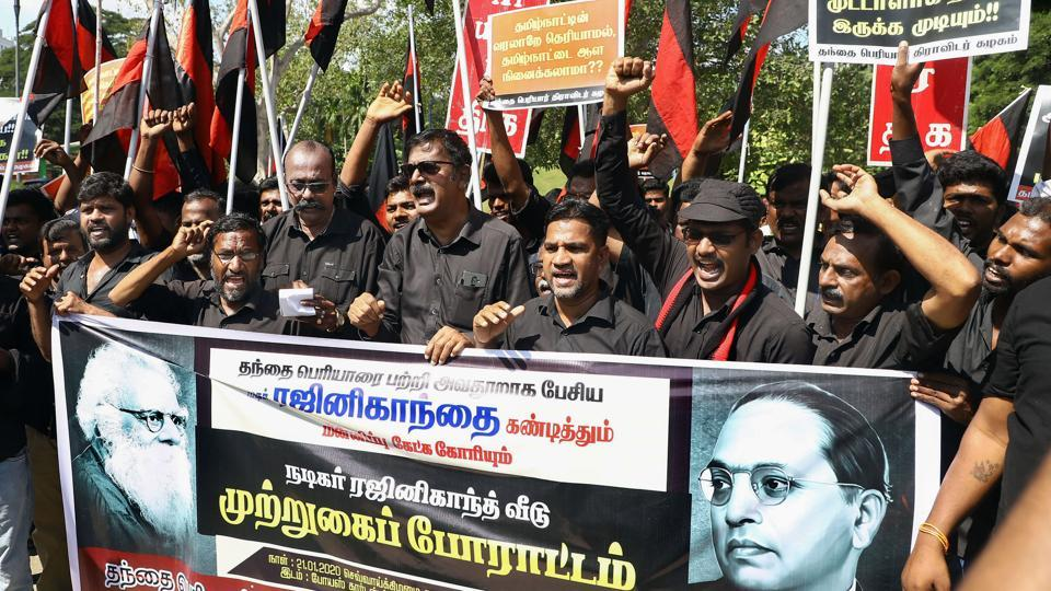 Activists of Periyar Dravidar Kazhagam, a Dravidian outfit, protest against Rajinikanth for his remarks against EVRamasamy.