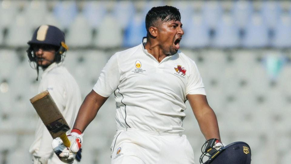 Mumbai: Sarfaraz Khan reacts during the third day of Ranji Trophy Match against Uttar Pradesh.