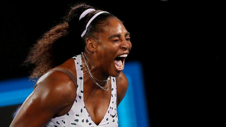 Serena Williams of the U.S. reacts during the match against Slovenia's Tamara Zidansek.