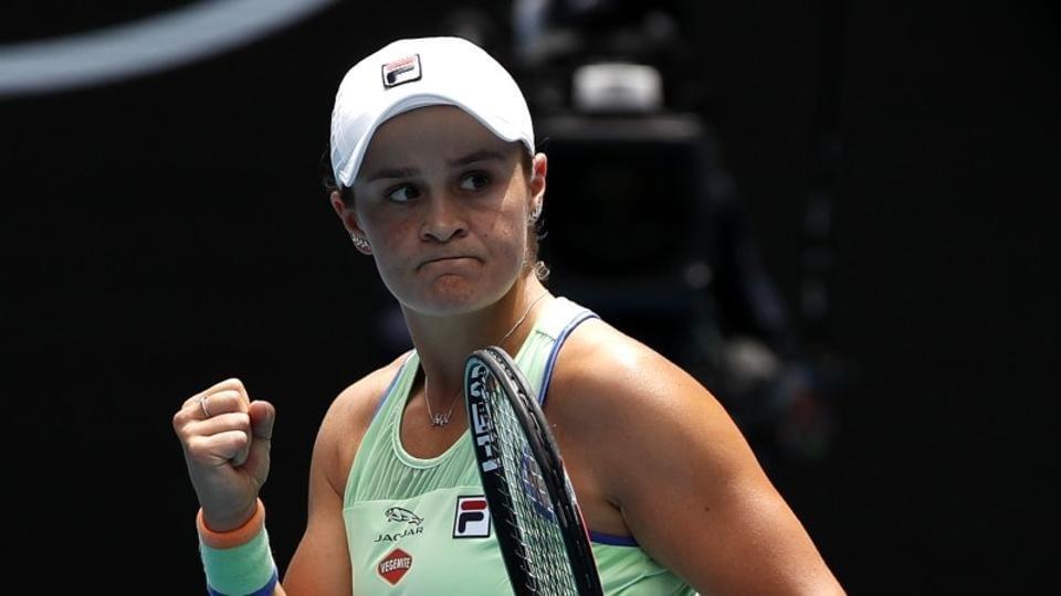 Australia's Ashleigh Barty celebrates winning the match against Slovenia's Polona Hercog.
