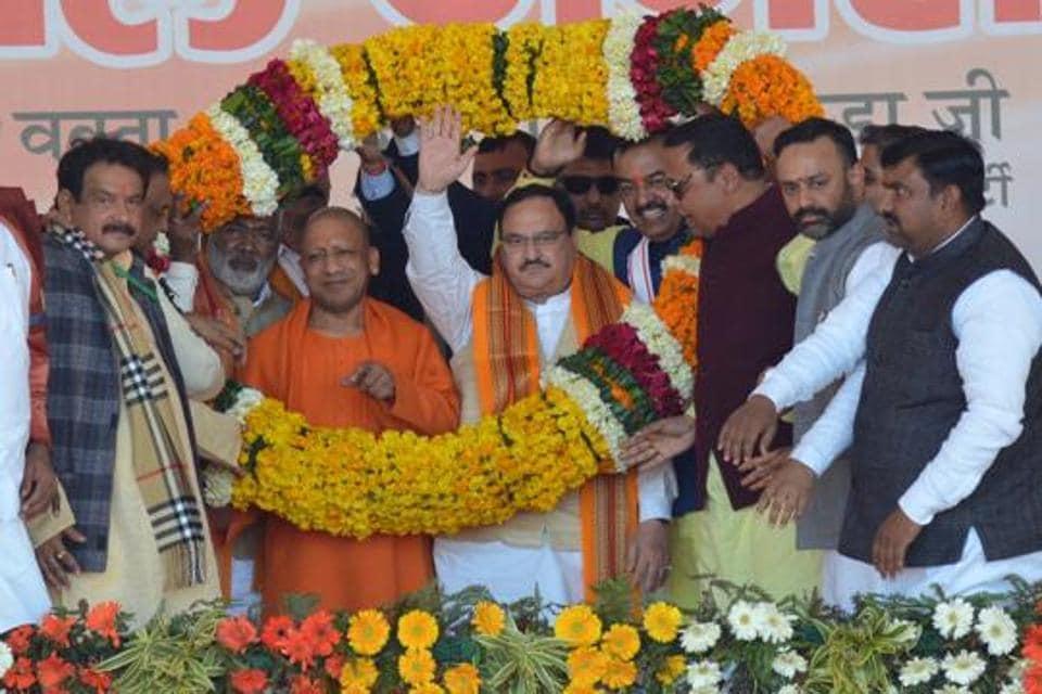 BJP national president JP Nadda was accompanied by chief minister Yogi Adityanath, deputy chief minister Keshav Prasad Maurya on Thursday.