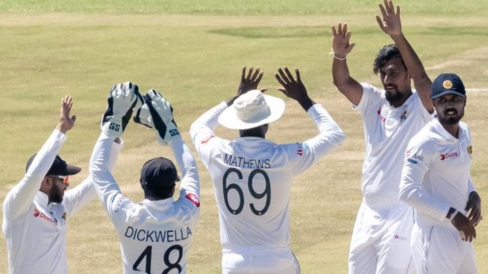Suranga Lakmal after taking a wicket during the Test match between Sri Lanka and Zimbabwe.