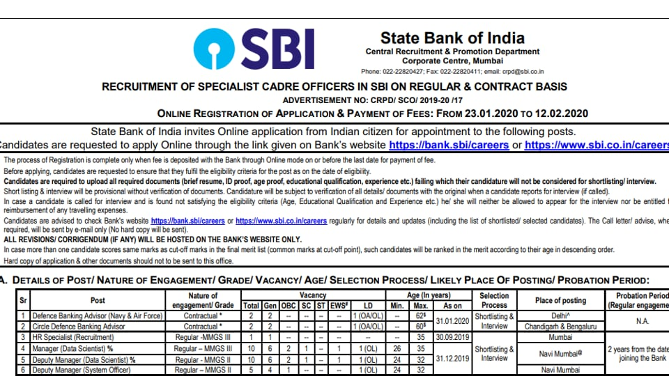 SBI Recruitment 2020: Application begins for SCO and clerical posts - education - Hindustan Times