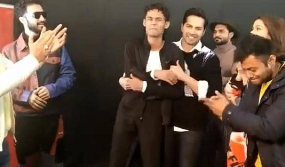 Varun Dhawan makes Baba Jackson face the camera after their dance-off.
