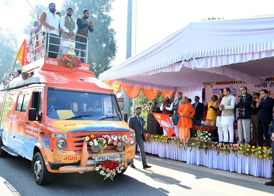 Uttar Pradesh chief minister Yogi Adityanath flagging off Ganga rath in Lucknow on Thursday.