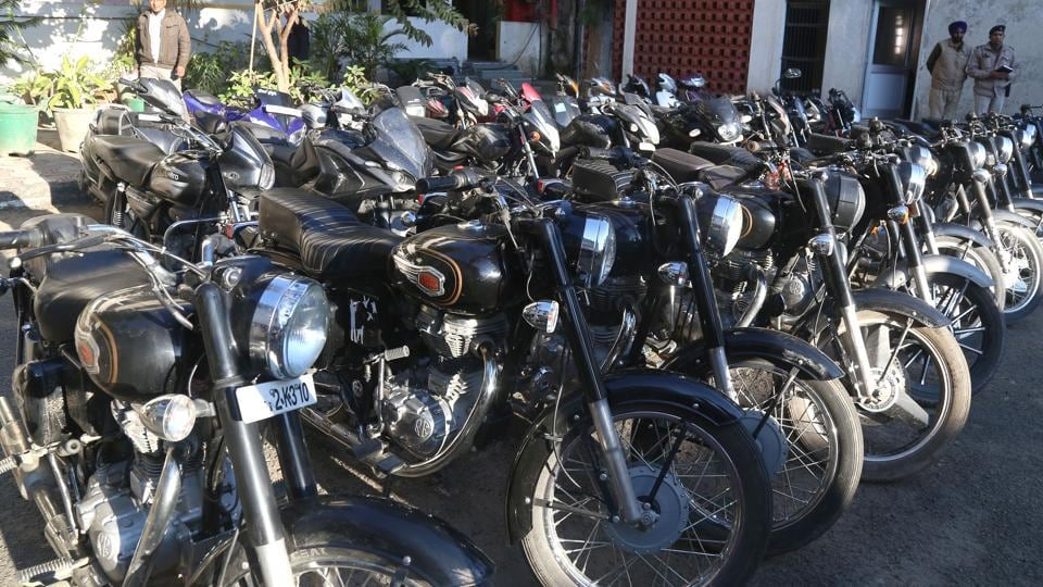 The recovered bikes at the Sector 39 police station.