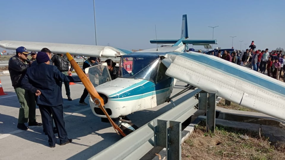 The plane, which according to local police officials had taken off from Bareilly, landed on the expressway near Duhai locality of Ghaziabad district.