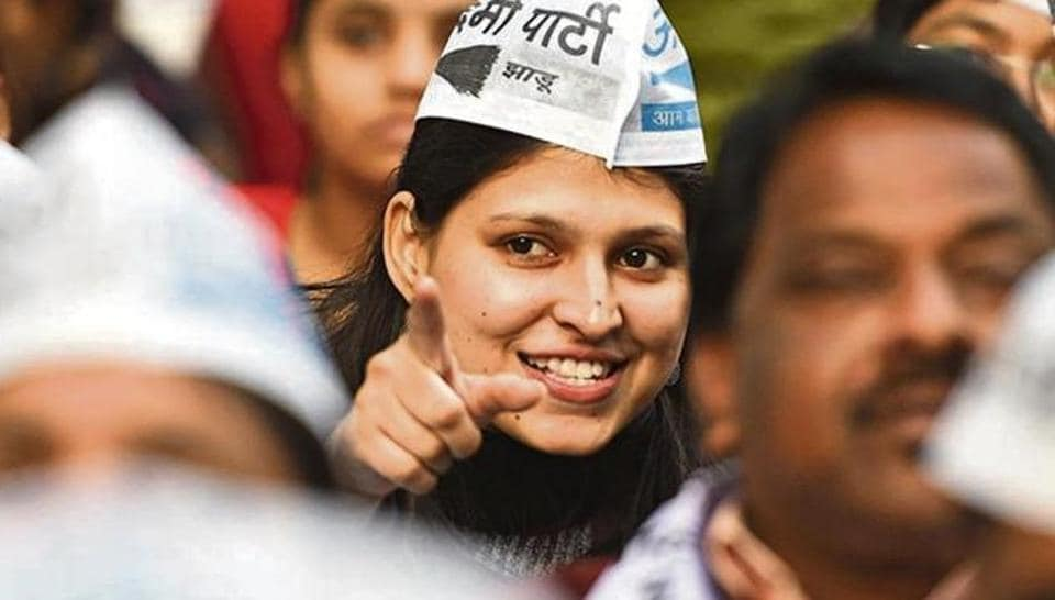 Supporters of AAP during a rally ahead of the upcoming Delhi Assembly elections at Rajendra Nagar in New Delhi,  on Wednesday, January 22, 2020.