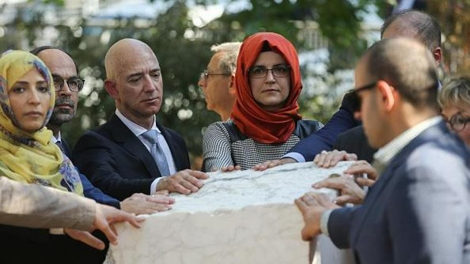 Bezos on Wednesday tweeted the hashtag #Jamal, along with a photo of himself at a memorial service for Khashoggi held in Istanbulin October.