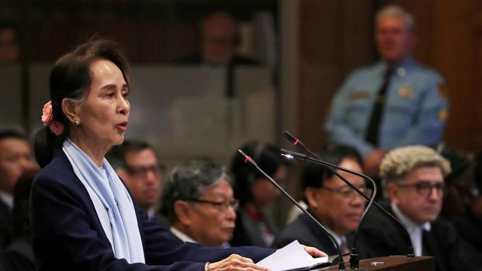 Myanmar's leader Aung San Suu Kyi speaks on the second day of hearings in a case filed by Gambia against Myanmar alleging genocide against the minority Muslim Rohingya population, at the International Court of Justice (ICJ) in The Hague, Netherlands December 11, 2019.