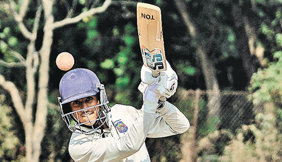 Digvijay Patil of Sardar Dastur School in action during the PDCAU-16 inter school cricket tournament at NCL ground, Pashan in Pune on Wednesday.