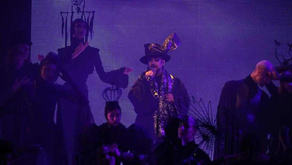 Singer Boy George performs during the final Jean Paul Gaultier Haute Couture Spring/Summer 2020 fashion collection presented Wednesday Jan. 22, 2020 in Paris. Fashion icon Gaultier presented his final couture catwalk collection, the designer's only remaining runway show since putting an end to his ready-to-wear collections in 2014.