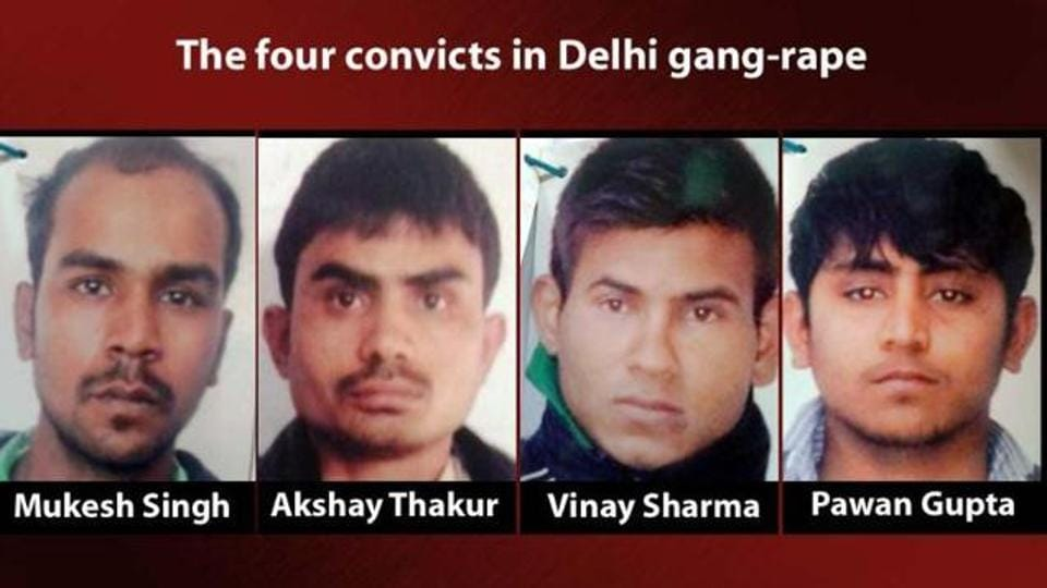 A picture of the four men convicted in the December 16 Delhi gang rape case.
