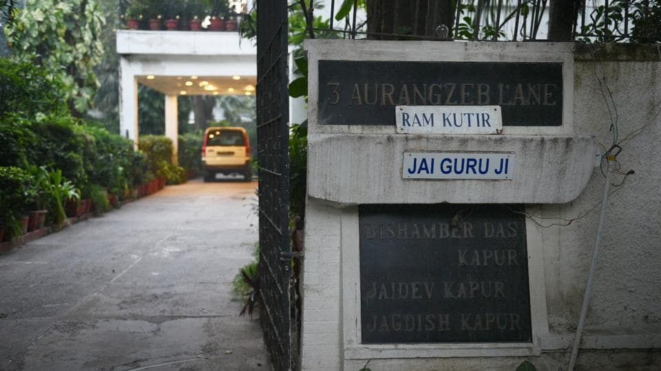 The house in central Delhi's Aurangzeb Lane that belongs to Sanjay Kapur,  the co-owner of Atlas Cycles. According to police, Kapur's wife was found hanging from a ceiling fan in the house.