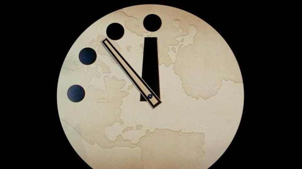 """The influential Bulletin of the Atomic Scientists (BAS) on Thursday moved its """"Doomsday Clock"""" to 100 seconds to midnight"""
