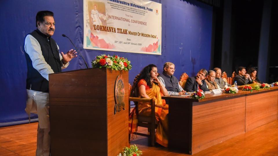 Prithviraj Chavan at the inaugural session of the international conference on Lokmanya Tilak at TMV, Gultekdi in Pune, India, on Wednesday, January 22, 2020.
