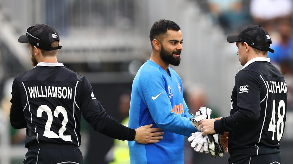 Virat Kohli shakes hands with Tom Latham of New Zealand after the semi-final match of the ICC Cricket World Cup 2019 between India and New Zealand.