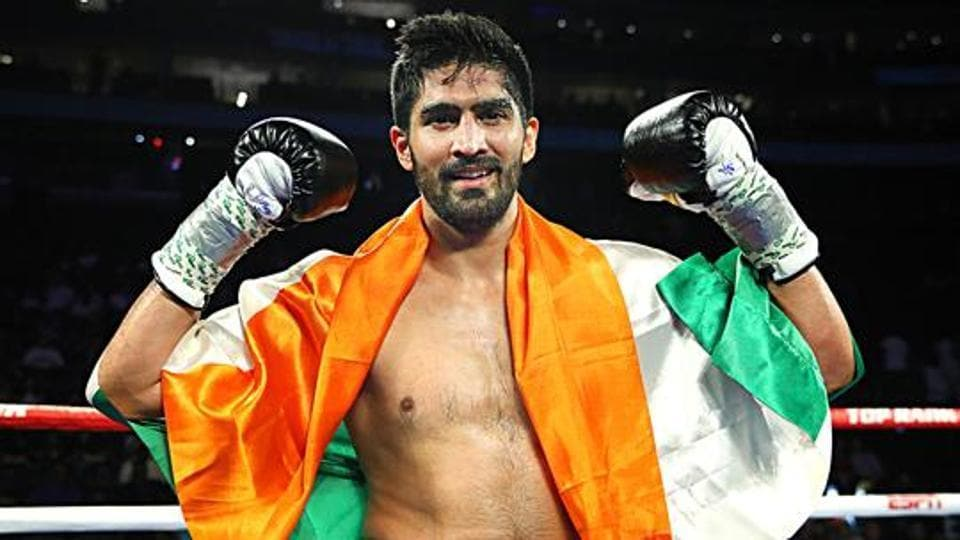 Indian boxer Vijender Singh wins with a Technical Knockout against American Mike Snider in Newark.