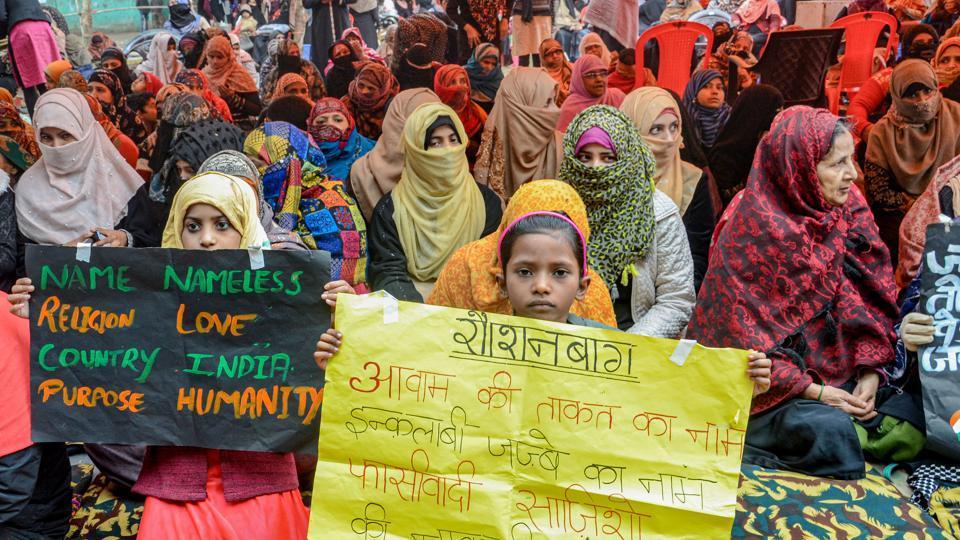 Women hold placards during a protest against CAA and NRC, in Prayagraj, Uttar Pradesh, Friday, Jan. 17, 2020.