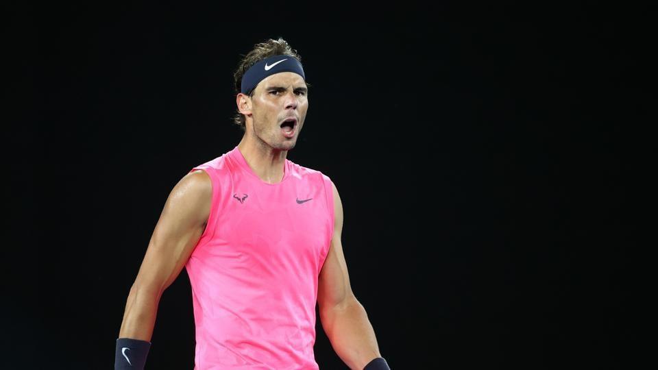 Rafael Nadal celebrates winning the match against Argentina's Federico Delbonis.