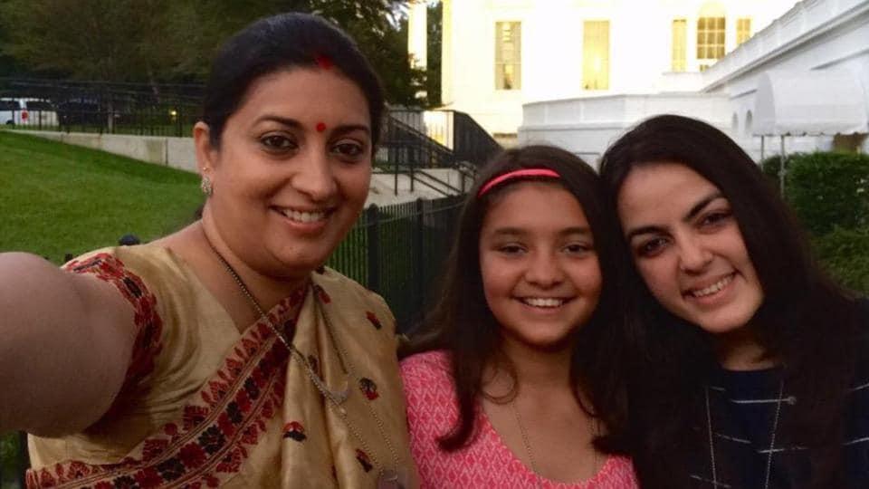 National Girl Child Day 2020: Smriti Irani with her daughters.
