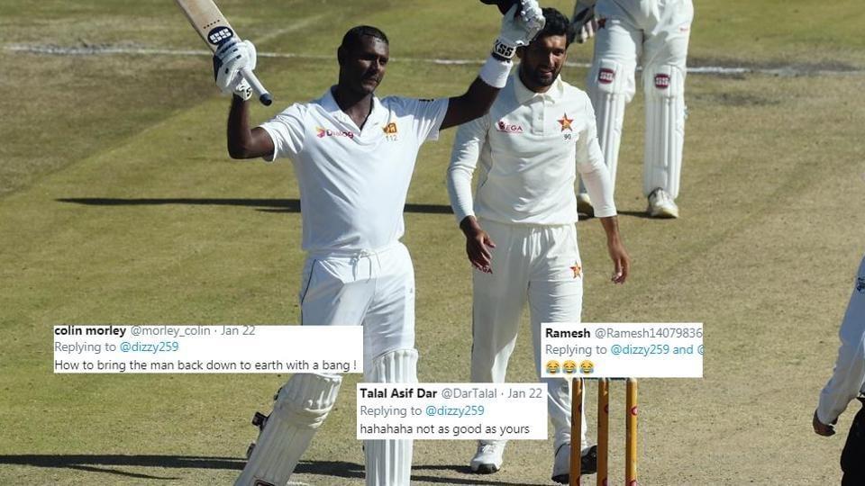 Sri Lanka batsman Angelo Mathews celebrates after scoring 200 runs against Zimbabwe at Harare Sports Club.