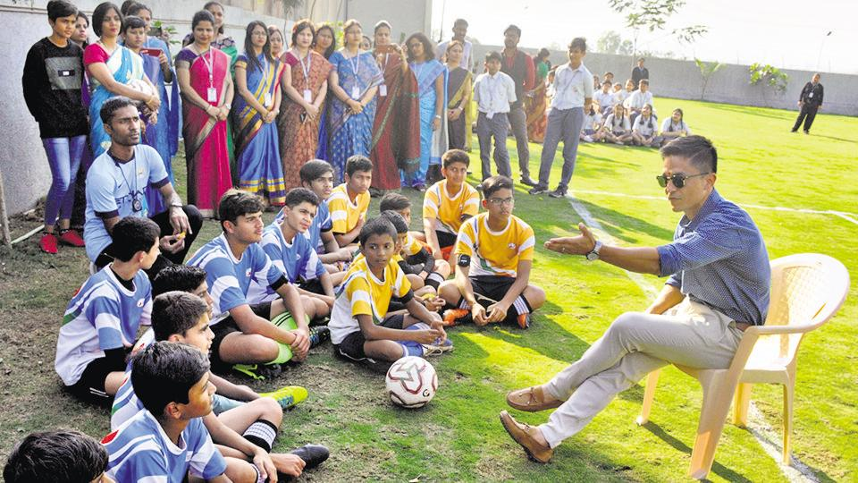 Students of Global Indian International School at Balewadi paying attention to their idol Sunil Chhetri, who visited them on Thursday.