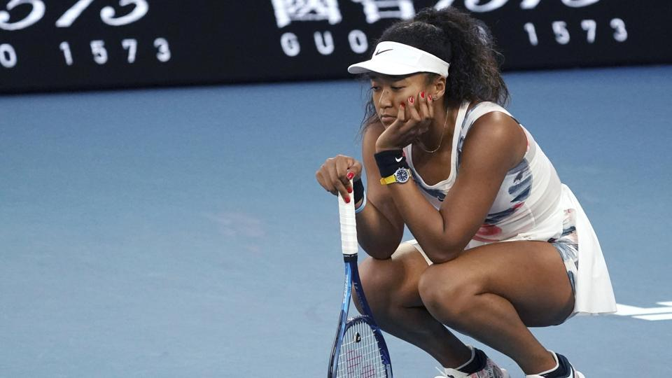 Japan's Naomi Osaka reacts during her third round loss to Coco Gauff.
