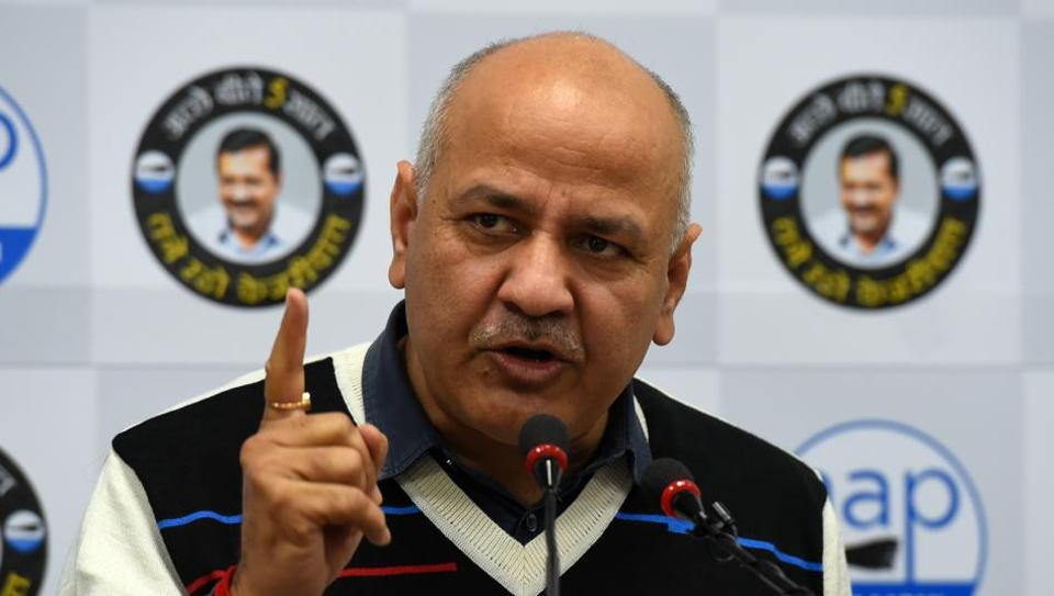 Delhi Deputy Chief Minister and AAP leader Manish Sisodia addresses the media, at the party office in New Delhi