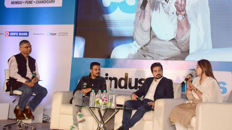 From left: Resident editor of HT Pune, Abhay Vaidya, moderated a panel discussion which featured award-winning director Sujay Dahake, actor Pushkar Jog, and actor Shilpa Tulaskar. The panel discussed tourism in India, a topic on which 150 shortlisted students had written an essay as well.