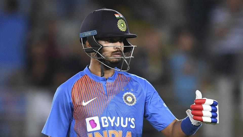 Shreyas Iyer during the Twenty/20 cricket international between India and New Zealand in Auckland.