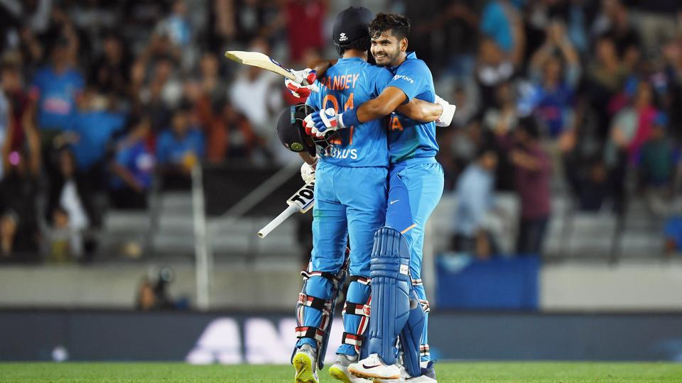 Manish Pandey and Shreyas Iyer celebrate their win in game one of the Twenty20 series between New Zealand and India at Eden Park in Auckland, New Zealand.