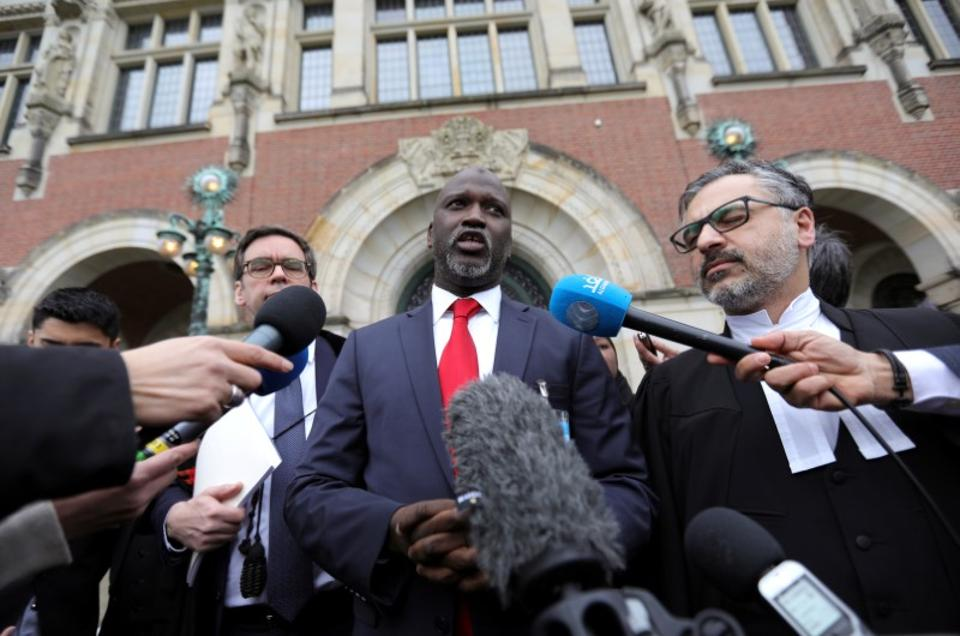 Gambia's Justice Minister Abubacarr Tambadou talks to the media outside the International Court of Justice (ICJ) after the ruling in a case filed by Gambia against Myanmar alleging genocide against the minority Muslim Rohingya population.