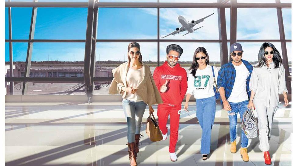Bollwood stars in smart travel wear.