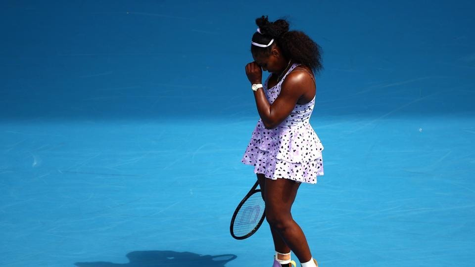 Australian Open - Third Round - Melbourne Park, Melbourne, Australia - January 24, 2020 Serena Williams of the U.S. reacts during the match against China's Qiang Wang REUTERS/Hannah Mckay