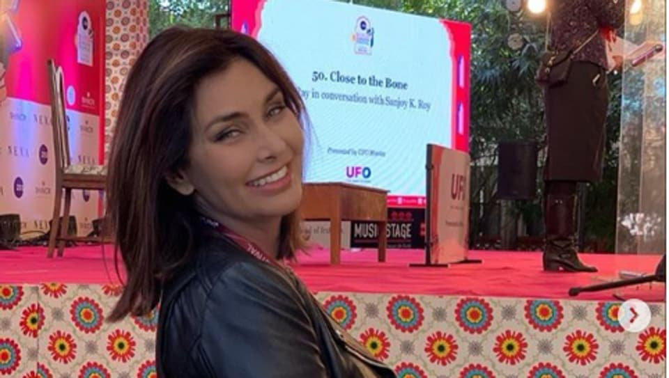 Actor Lisa Ray at the Jaipur Literature Festival 2020.