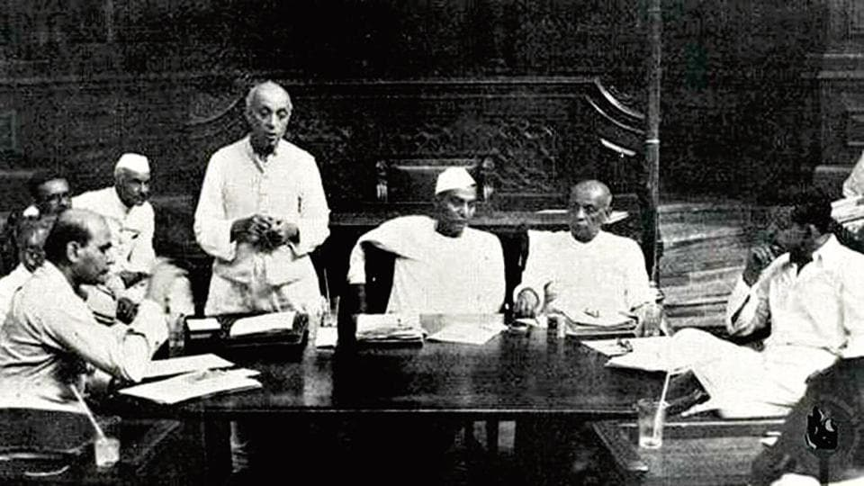 Jawaharlal Nehru addressing a meeting of a committee of the Constituent Assembly in New Delhi, 1949.