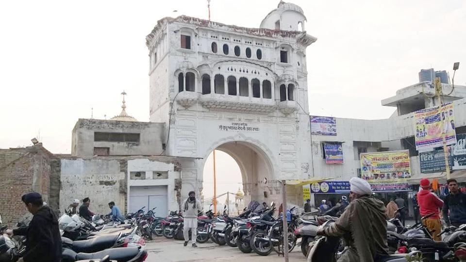 A view of the partially demolished Darshani Deori of Gurudwara Darbar Sahib in Tarn Tran in on Saturday.